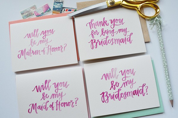 Hand lettered bridesmaid cards by Prairie Letter Shop