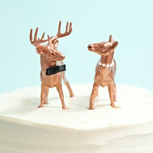 DIY - copper animal cake toppers with bow tie and pearls