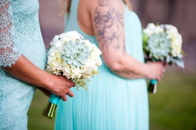 Turquoise bridesmaids and succulents