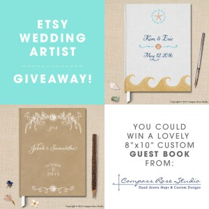 Custom wedding guest books from Compass Rose Studio