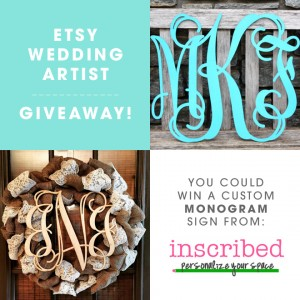 "You could win an 18"" custom, wood monogram from Inscribed!"