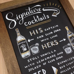 Custom Signature cocktail sign for weddings
