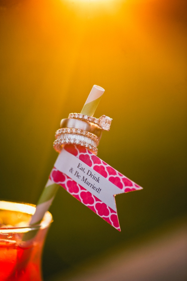 Awesome wedding ring shot on a cute straw