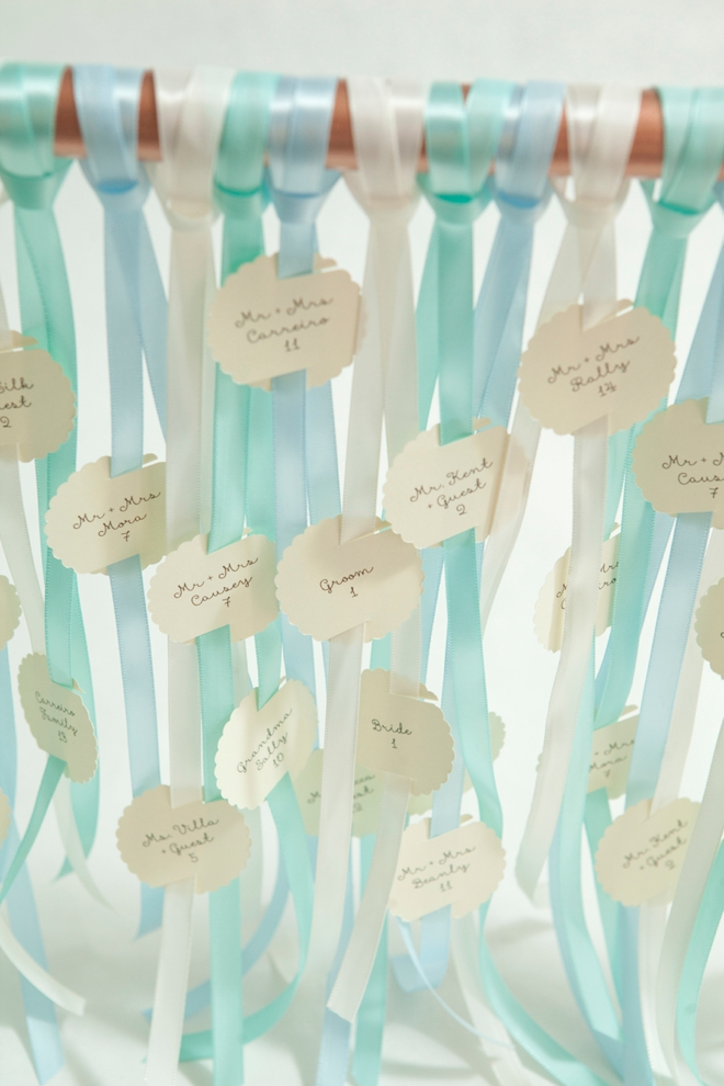 Awesome, DIY galvanized pipe escort card display!