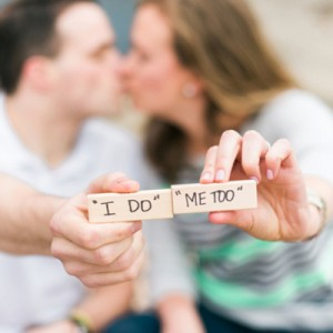 Adorable engagement session with scrabble tiles