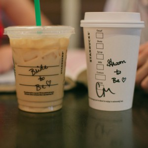 Bride-to-be and Groom-to-be Starbucks cups, so cute!