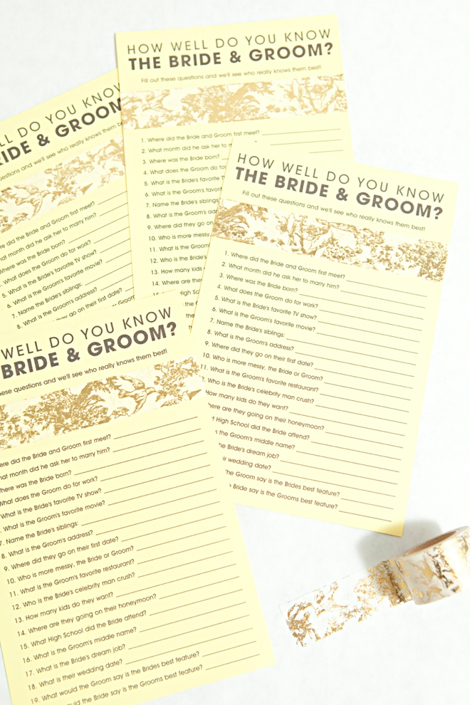 It is an image of Terrible How Well Do You Know the Bride Free Printable