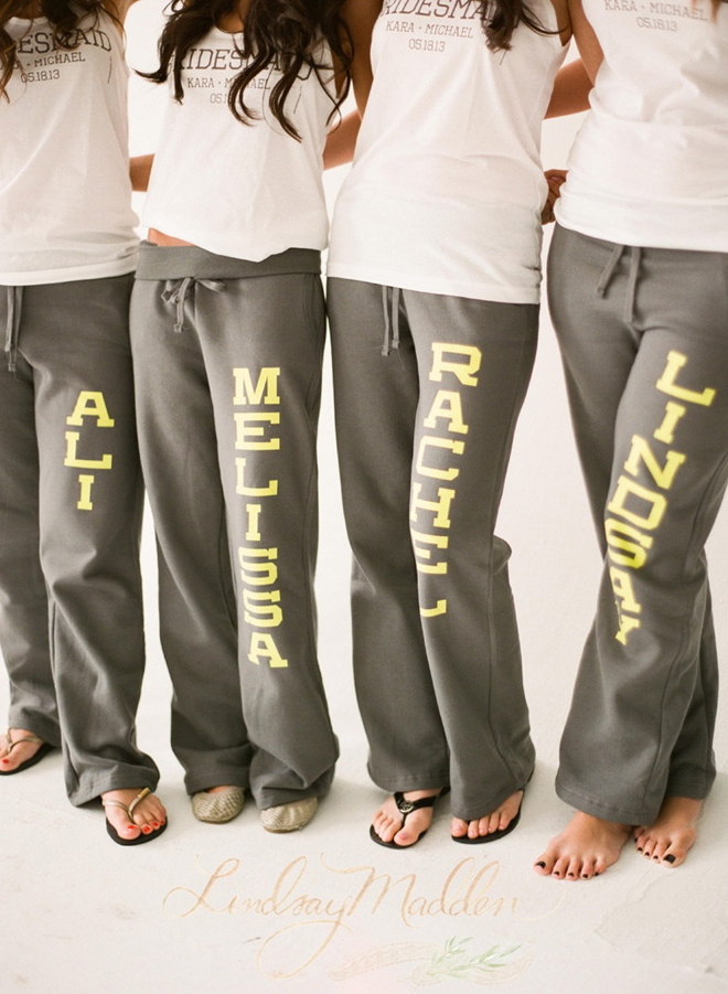 Custom Bridesmaids Sweatpants from Sister 9 Designs