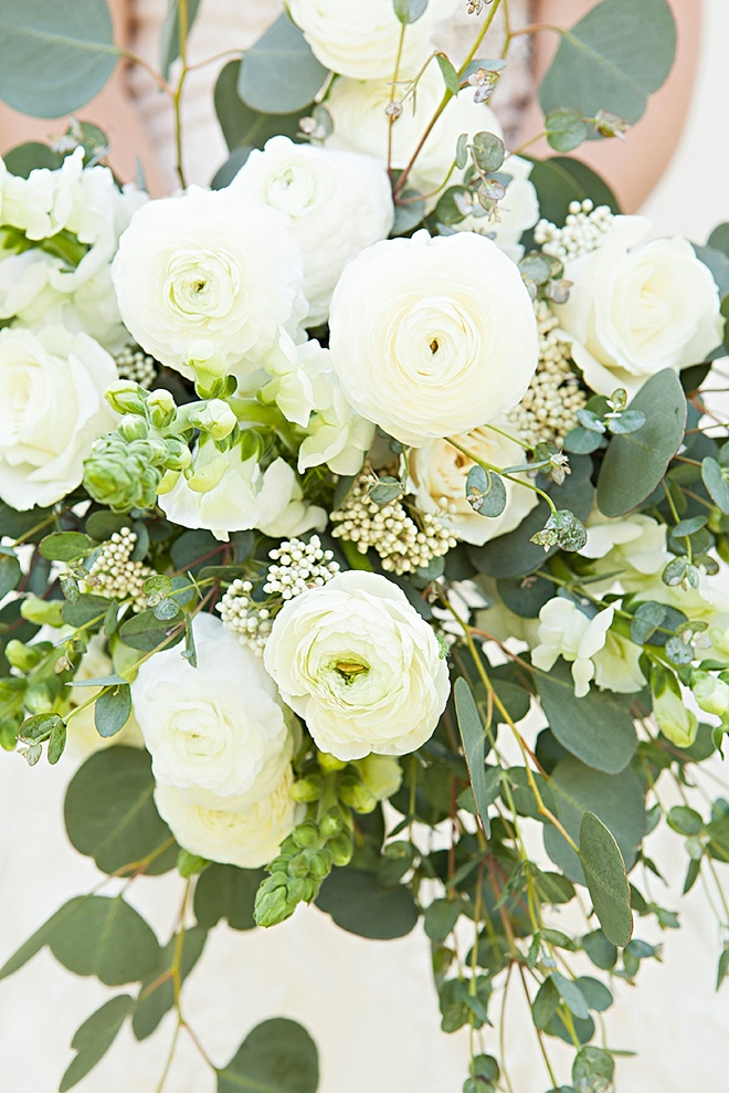Gorgeous DIY eucalyptus and ranunculus wedding bouquet