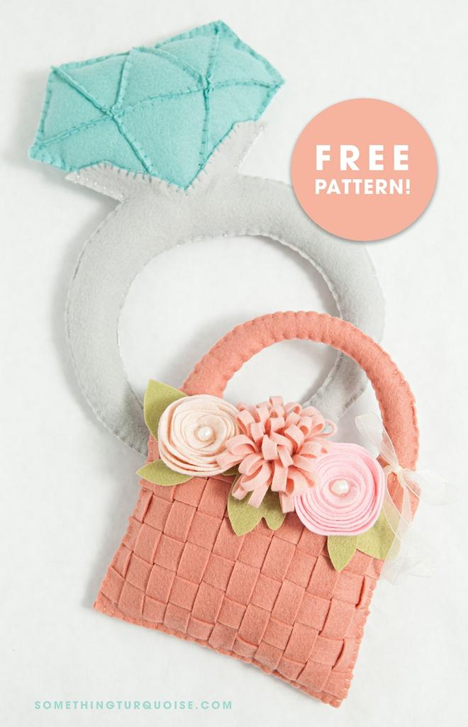 Free DIY giant felt diamond ring and flower girl basket patterns!