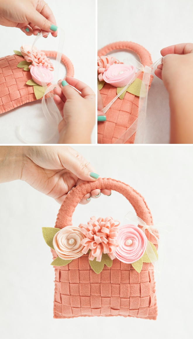 How To Make Flowers Girl Basket : Learn how to make the most adorable felt flower girl basket