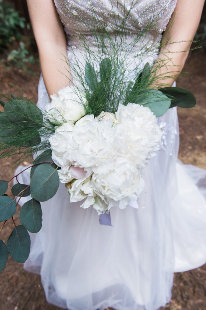 Gorgeous DIY wedding bouquet with peonies and eucalyptus