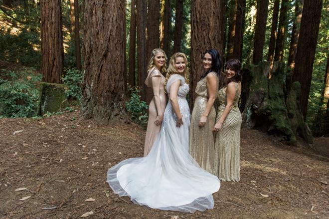 Bride with her mismatched sequin bridesmaids