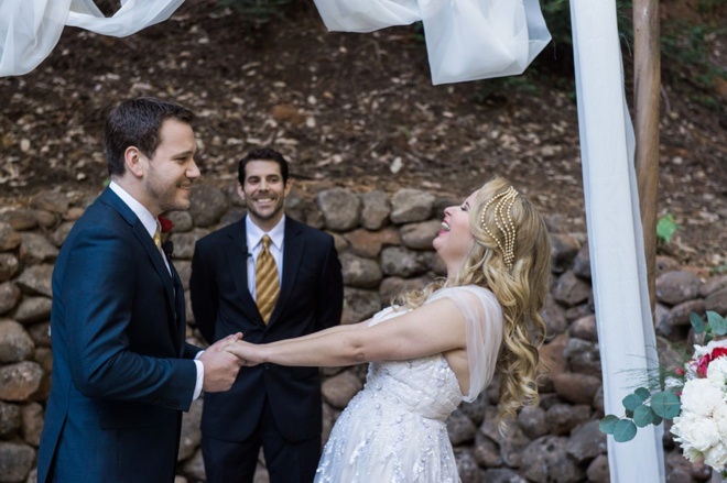 The groom, the officiant and bridal party all bursted into song during the ceremony!