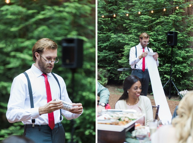 Best Man with a scroll for his speech!
