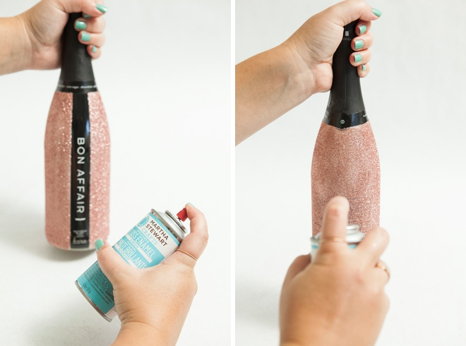 Learn how to glitter champagne and wine bottles!