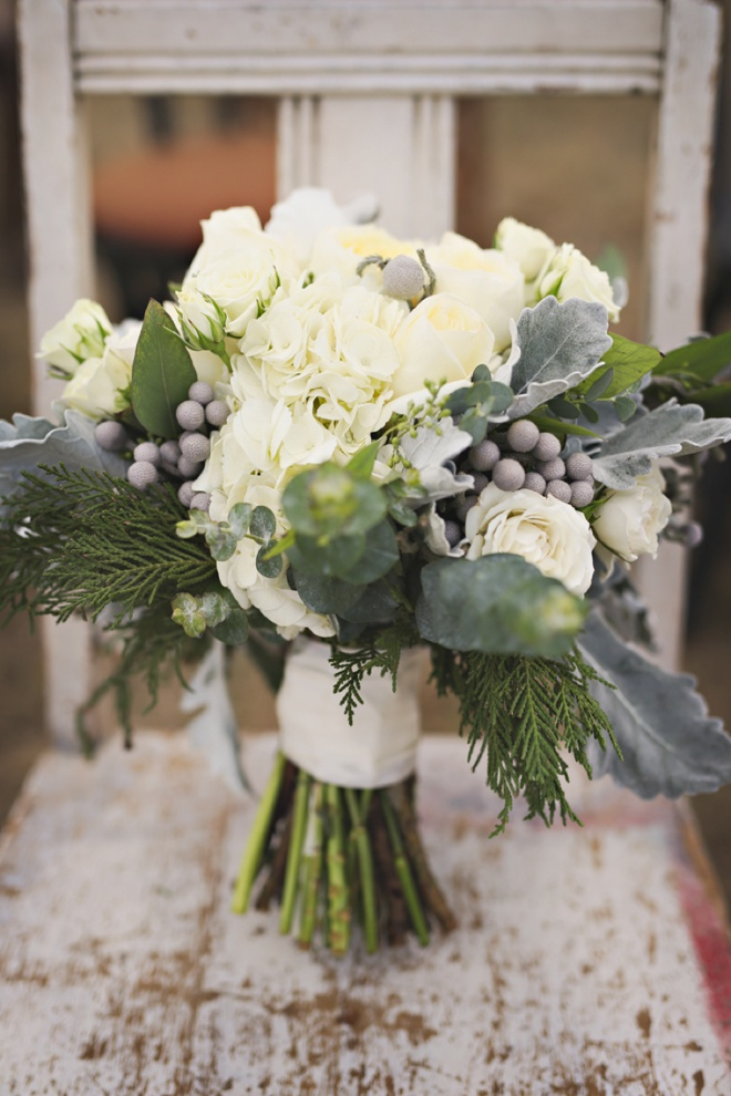 Gorgeous white and green Christmas wedding bouquet
