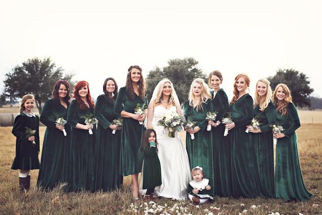 Stunning green velvet bridesmaid dresses.