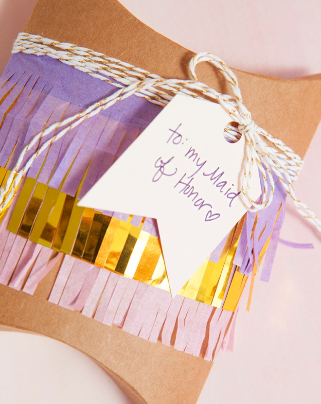 Darling idea for DIY fringe wrapped gift boxes!