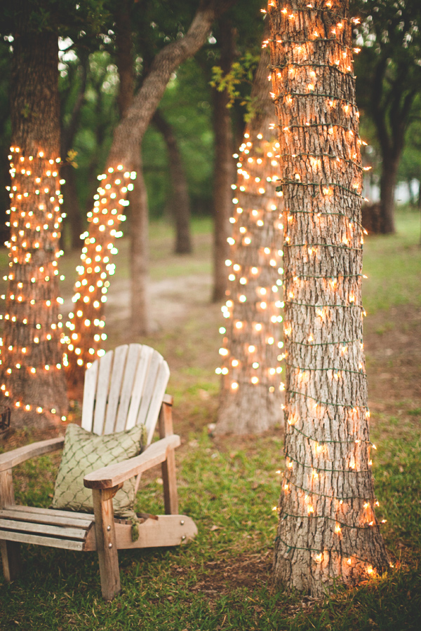 Wrap the trees near your outdoor reception in twinkle lights!