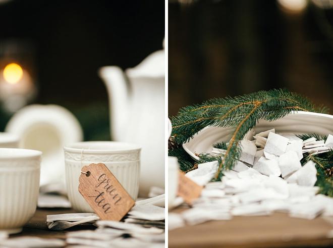 Darling white tea set with handwritten wooden tea tags!