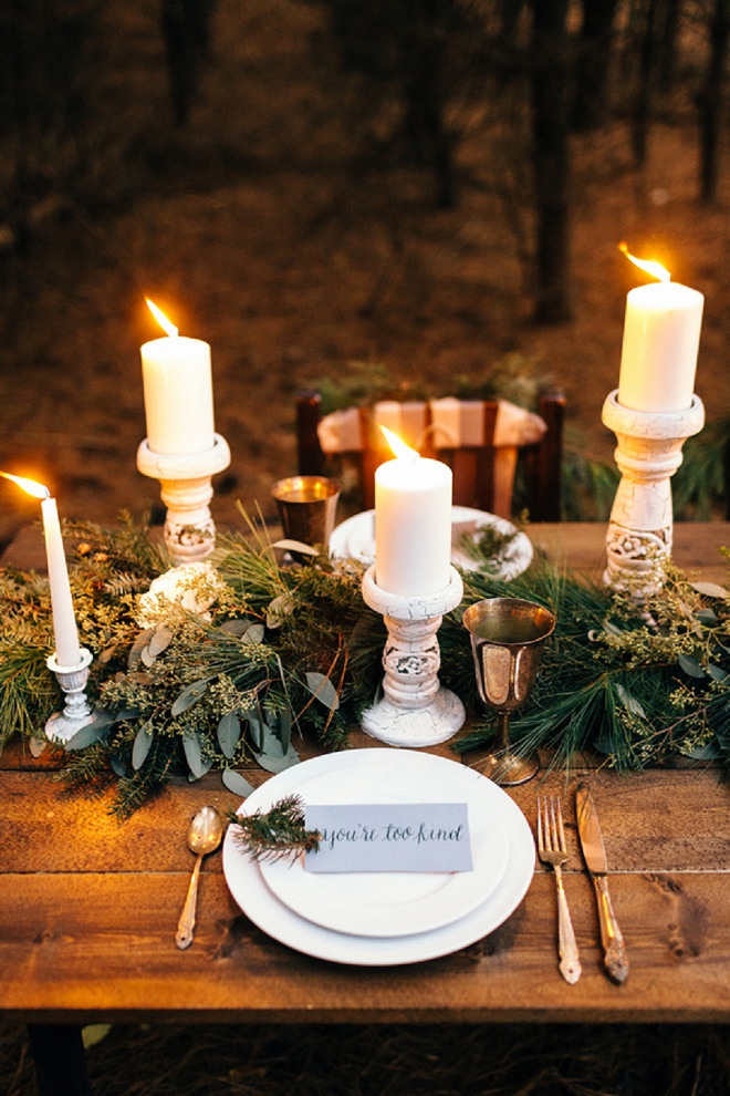 Darling cozy holiday romantic tablescape