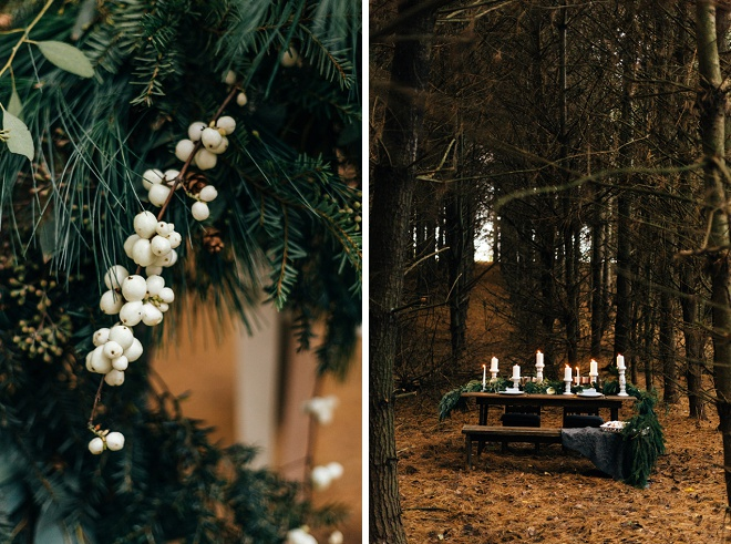We love this gorgeous tablescape decorated with pine!