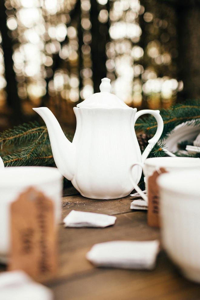Gorgeous white tea set with hand-written tea tags