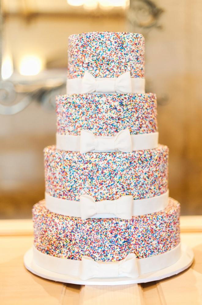 Amazing sprinkle wedding cake.