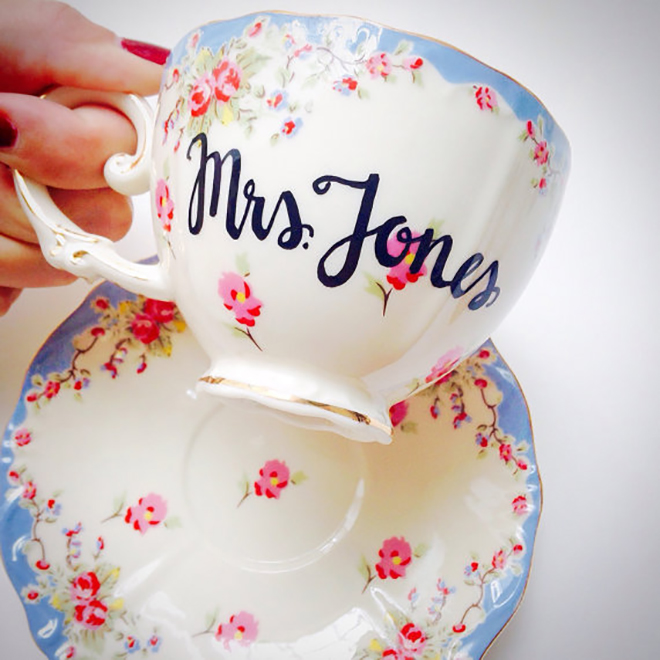 Personalized tea cup gift idea!