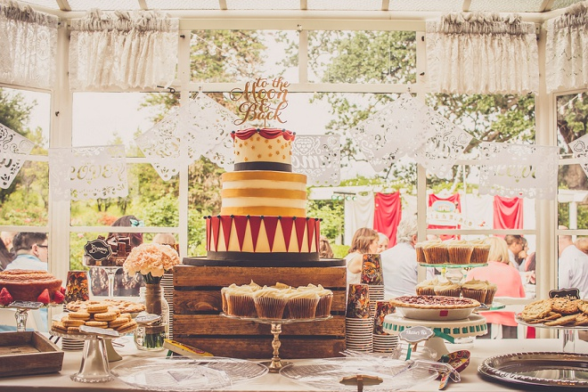 We're loving this fun, vintage carnival style wedding and gorgeous dessert bar!
