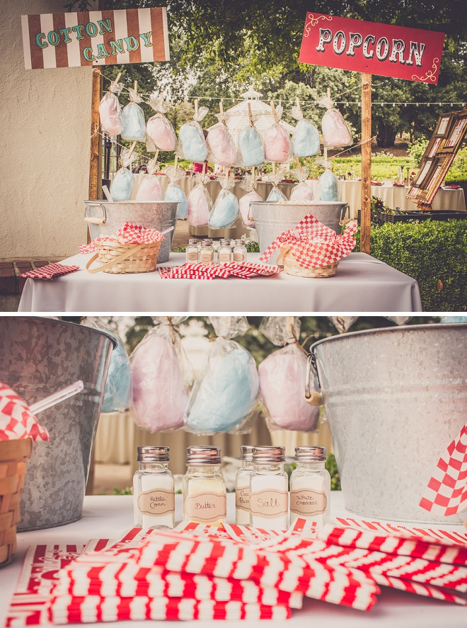We're loving this gorgeous cotton candy and dessert bar at this fun carnival wedding!