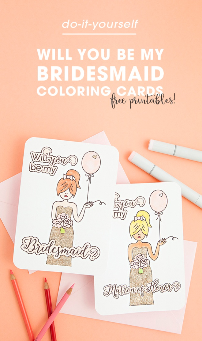 free printable will you be my bridesmaid coloring cards. Black Bedroom Furniture Sets. Home Design Ideas