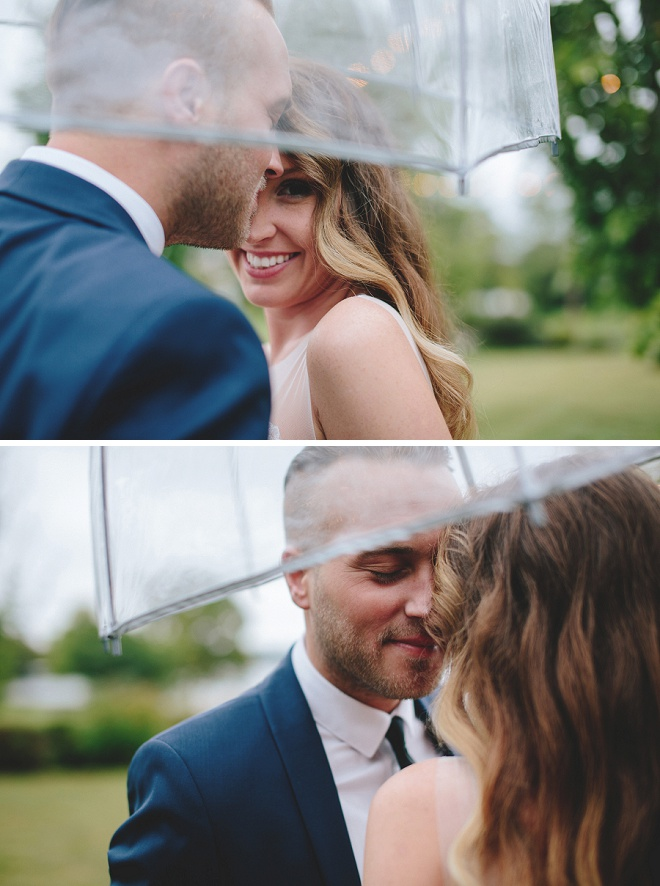 We're loving this rainy wedding and the gorgeous umbrella shots! So gorgeous!