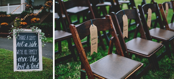 We're loving these DIY family chair tags at this gorgeous front porch wedding ceremony!
