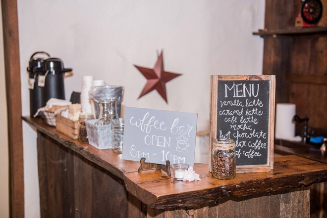 We love this darling reception coffee bar!