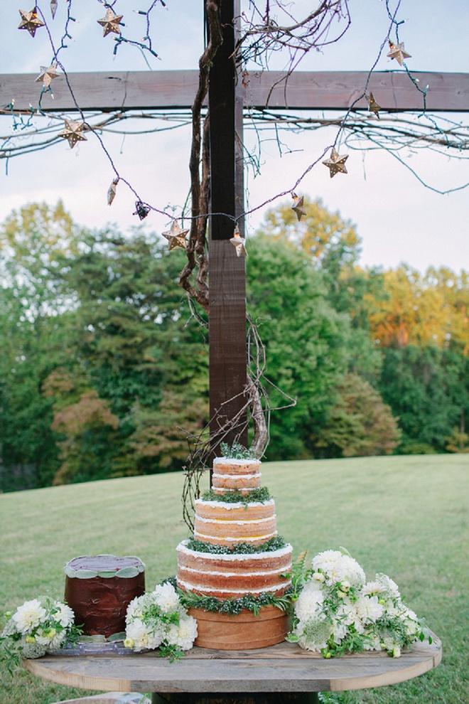 Nós amamos este bolo de casamento nu lindo! Desmaio!