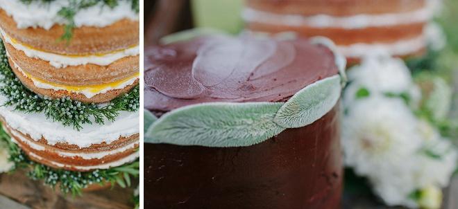 Nós amamos os detalhes sobre este bolo de casamento nua e bolo do noivo!