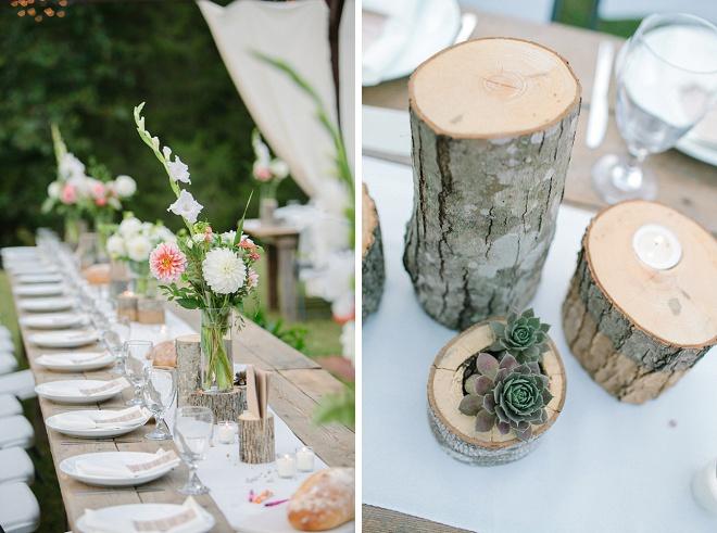 Amar essas peças centrais de madeira rústica e atenciosas!