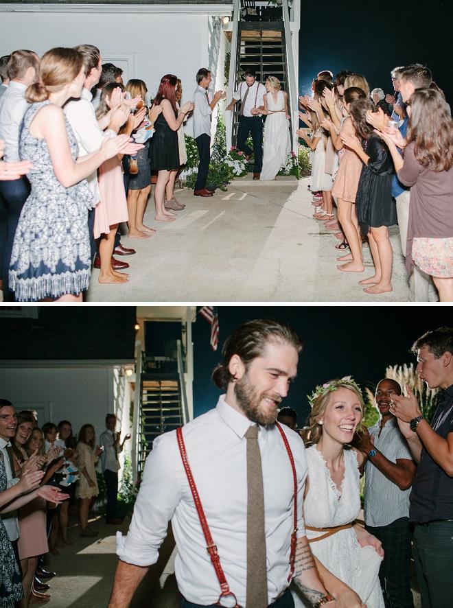 Love this sweet exit at this boho backyard wedding!