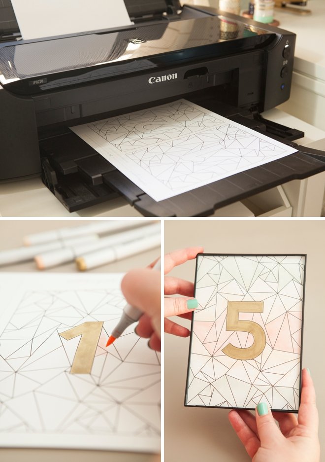 Darling free printable, geometric wedding table numbers that you can color!
