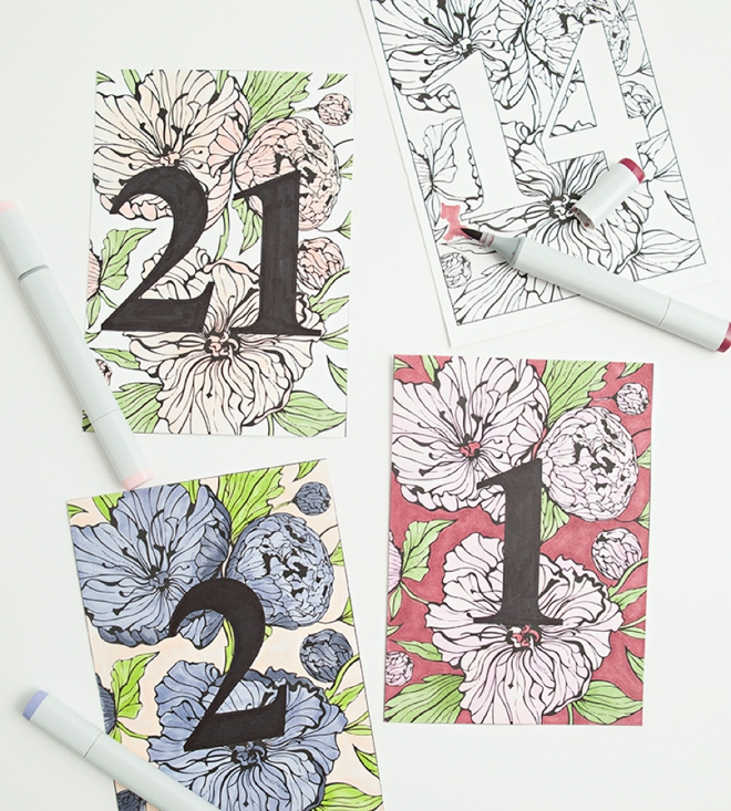 Darling free printable, peony wedding table numbers that you can color!