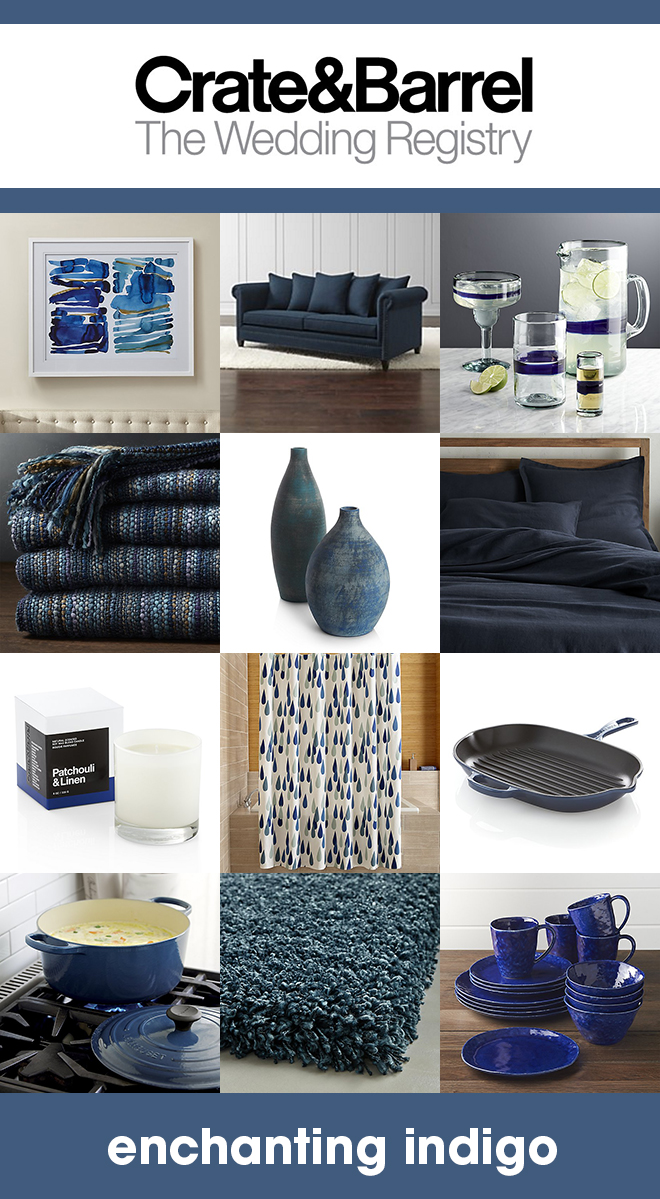 Our favorite indigo items that should be on your Crate & Barrel wedding registry!