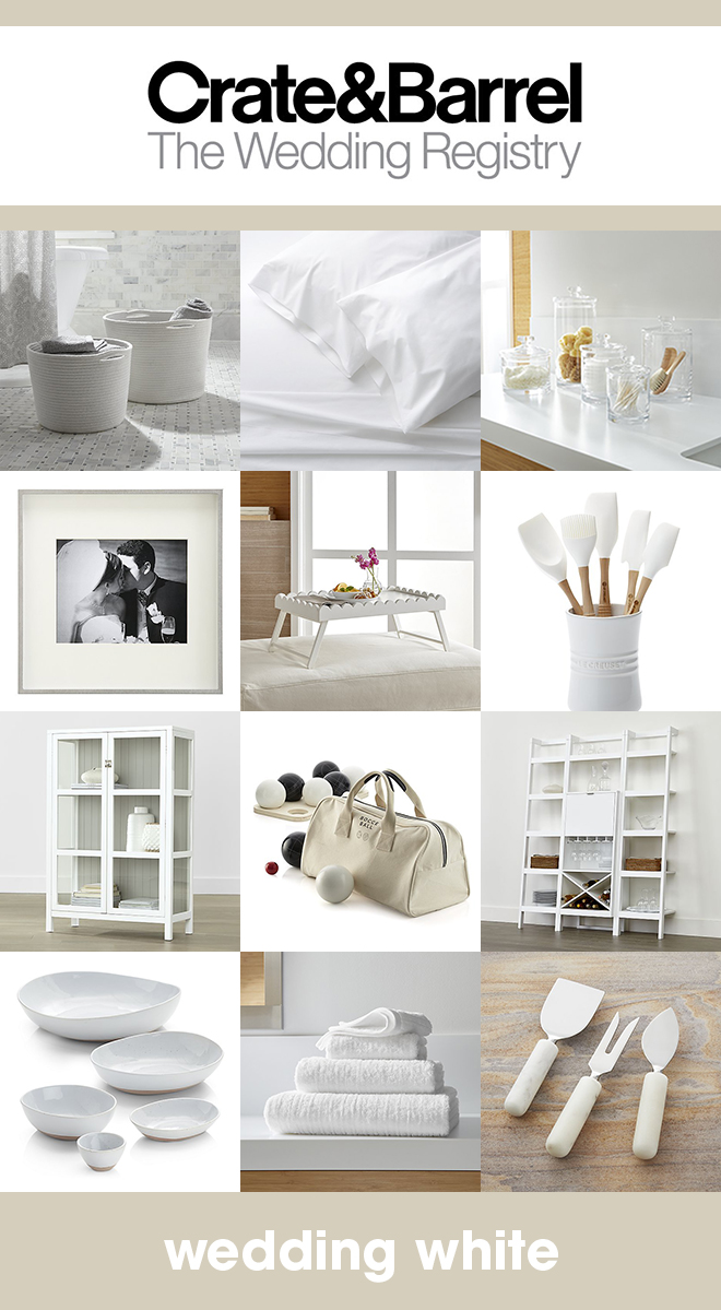 Our favorite white items that should be on your Crate & Barrel wedding registry!