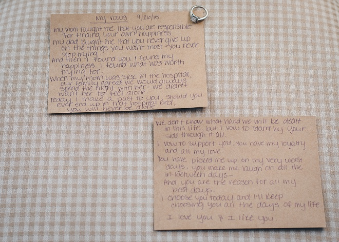 Loving this photo of this Bride and Groom's handwritten vows. So sweet!