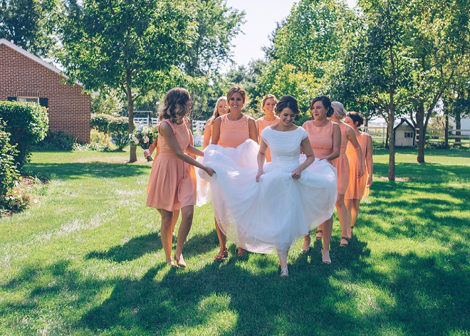 Loving this Bride's and Bridesmaid's style at this gorgeous outdoor barn wedding!