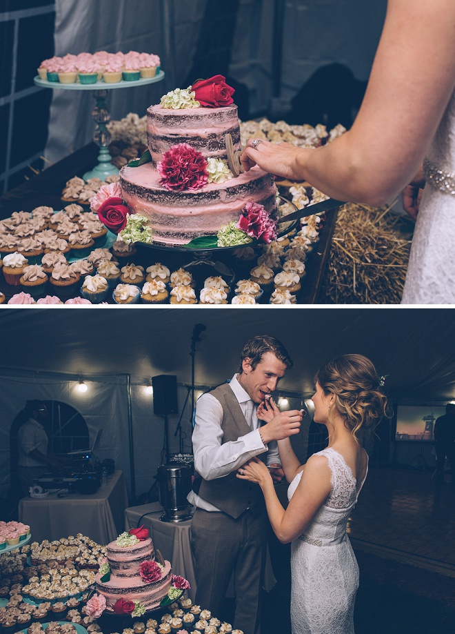 How fun is this gorgeous Bride and Groom?! We're loving their wedding cake and cupcake dessert table!
