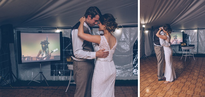 Swooning over this darling first dance at their barn recepetion!