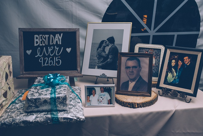 Sweet table in memory at this gorgeous barn wedding!