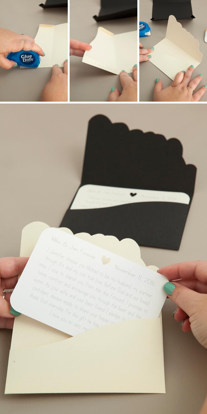 Darling DIY idea for custom wedding vow notebooks!
